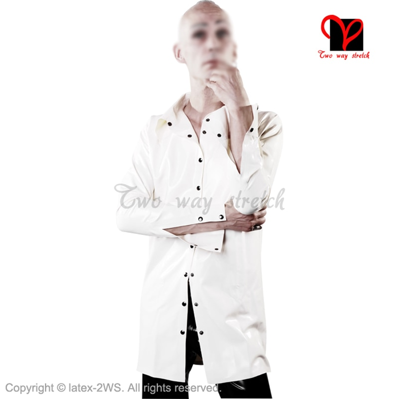 Sexy White Latex Shirt Rubber Coat Jacket Gummi Blouse  Catsuit Long Sleeve Top Uniform Button Tee Snap  Plus Size Xxxl Sy-010