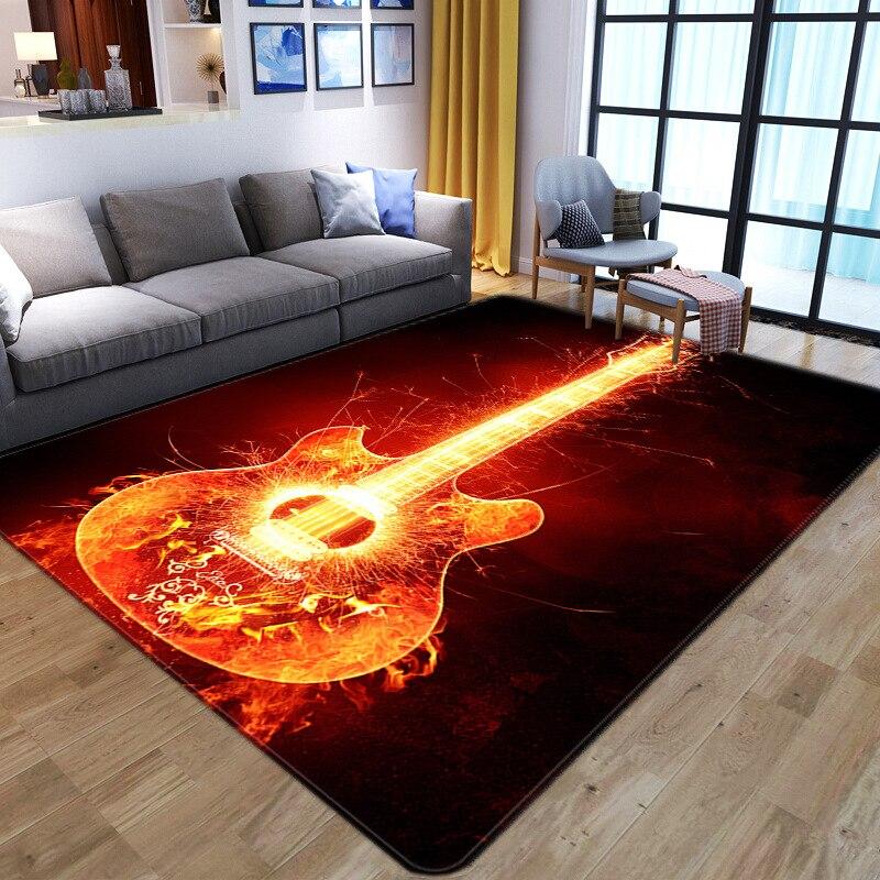 Alfombra de guitarra 3D flame, Alfombra de fútbol para dormitorio, alfombra abstracta de estilo nórdico para sala de estar, alfombras para salón, alfombra para piso antideslizante para niños alfombra para piso