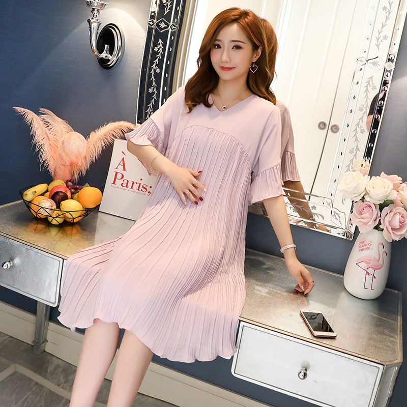 Fashion Maternity Dresses Pregnant Clothes 2020 Summer Loose Casual Pleated Chiffon V-Neck Pregnancy Dress Vestidos Plus Size enlarge