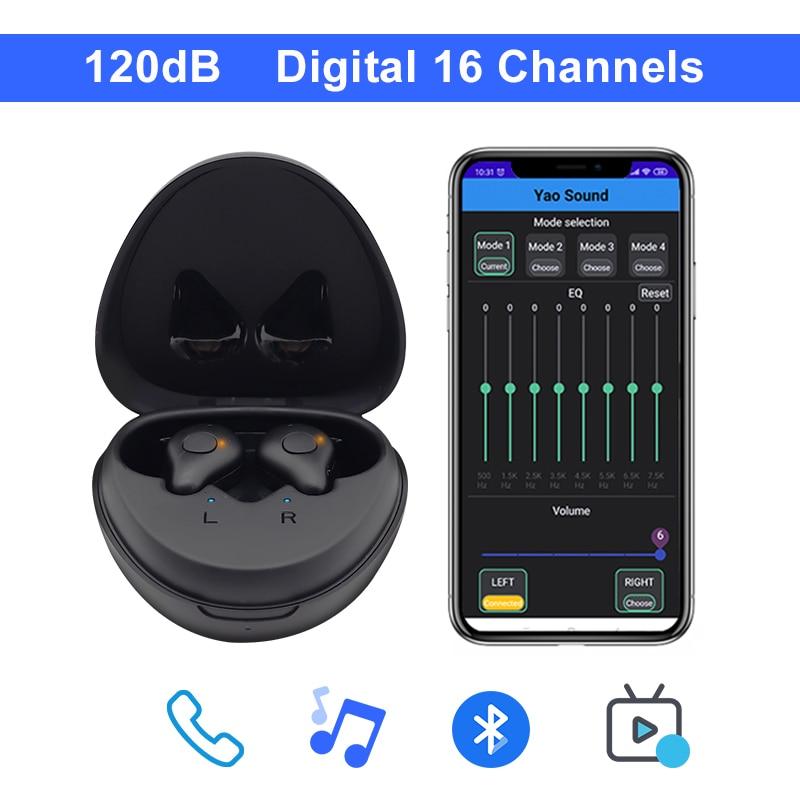 120dB الرقمية 16 قنوات مساعدات للسمع بلوتوث قابلة للشحن مع APP التحكم باللمس مكبر صوت السمع للصمم