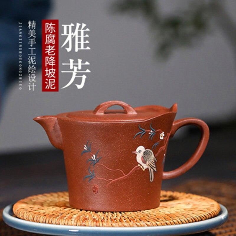 Yixing, tetera de arcilla morada de barro Downslope antigua, famosa tetera hecha a mano, juego de té pintado de avón