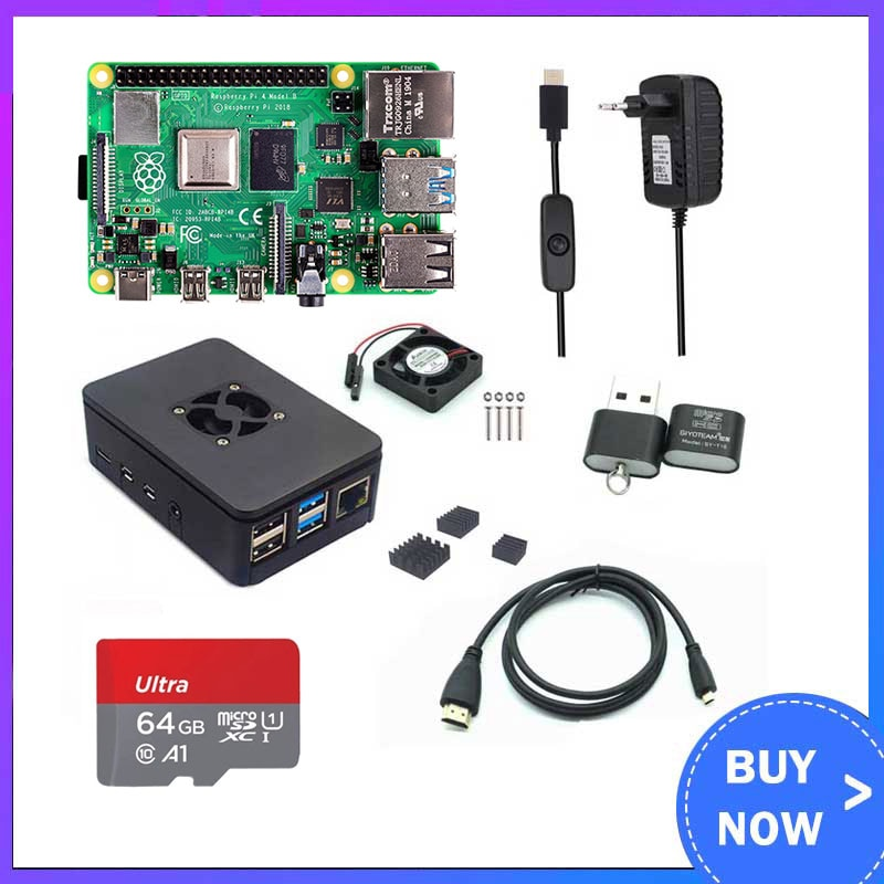 Raspberry Pi 4 Model B 2/4/8GB RAM + Case + Fan + Heat Sink + Power Adapter + 32/64 GB SD Card +HDMI-compatible Cable for RPI 4B