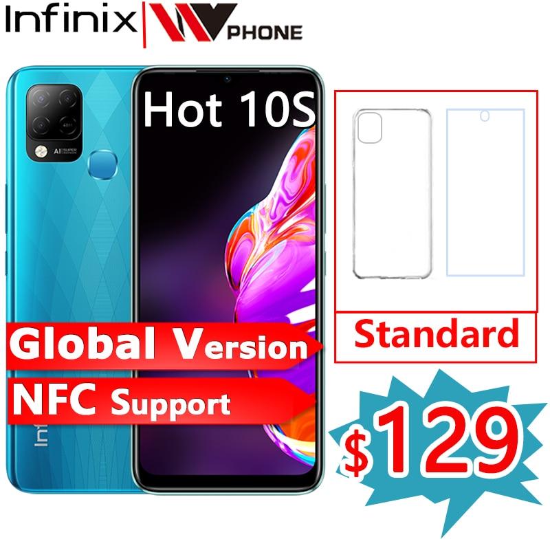 Перейти на Алиэкспресс и купить Глобальная версия Infinix Горячая 10S Поддержка NFC 4 Гб 64 Гб 6,82 ''Дисплей смартфон Helio G85 48MP AI сзади Камера 5000 мА/ч, Батарея