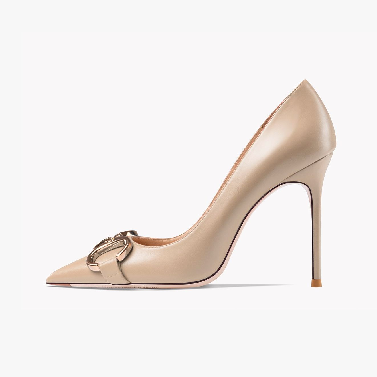 Real Leather Metal Button Women's Shoes Luxury Brand High Heels Office Ladies Stiletto Pumps Sexy We