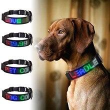 Arnés de Collar para mascotas, programa de desplazamiento de texto, pantalla de mensaje, LED intermitente, para cachorros de compañía, correa de seguridad, advertencia, Chihuahua, Multicolor