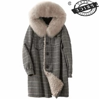 real fur coat female winter natural fox fur hooded wool liner jacket women clothes 2021 korean vintage fur top hiver 13a6