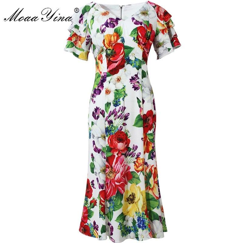 MoaaYina, vestido de verano para mujer, con cuello en V, Manga mariposa, estampado Floral, Vacaciones, Vestidos de sirena