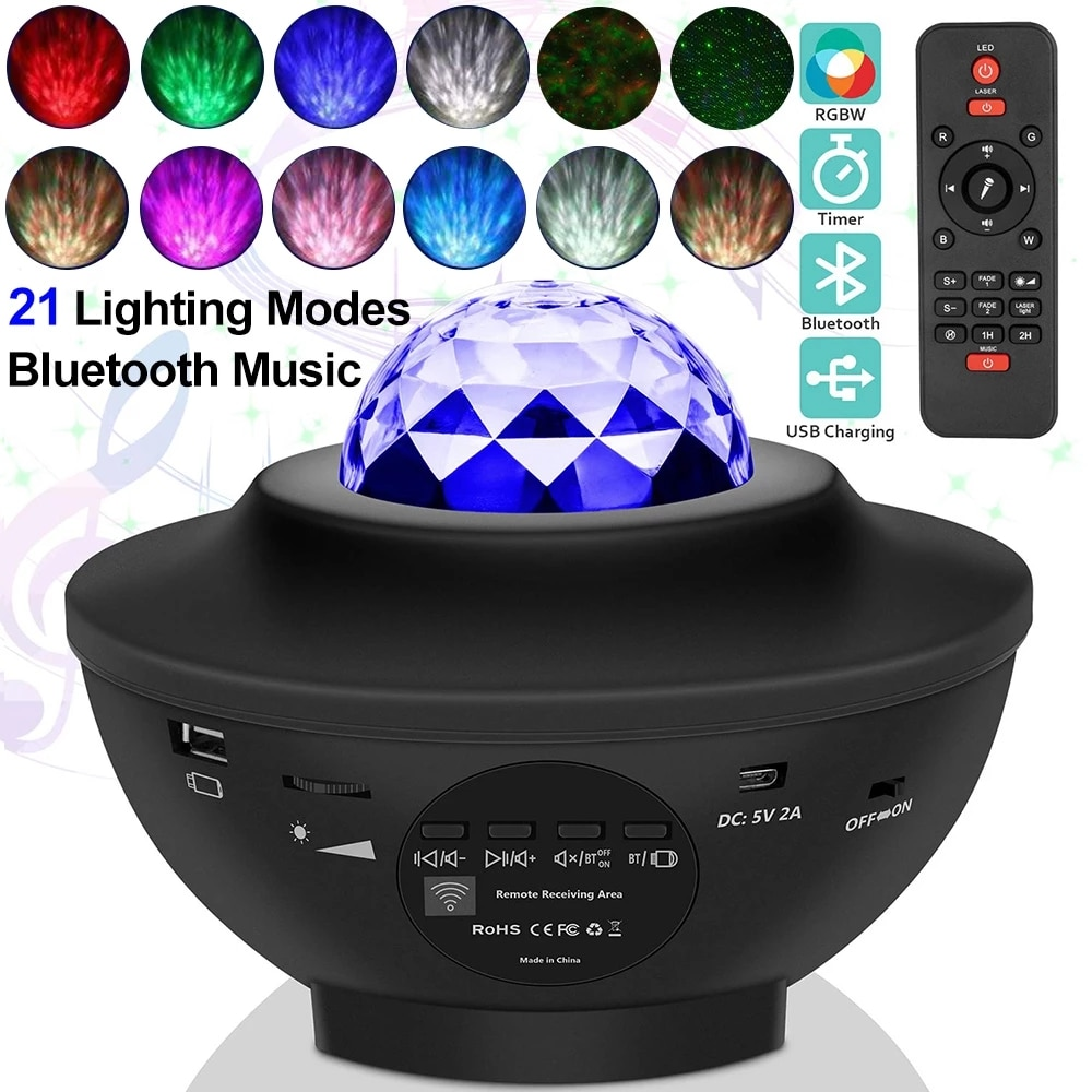 LED Star Night Light Lamp Music Starry Water Wave Colorful Starry Sky Projector Blueteeth Sound-Activated Projector Light Decor