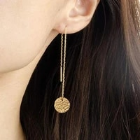 korean womens long earring gold color stainless steel geometry charm pendent chain tassel earrings for women jewelry
