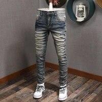 italian style fashion men jeans retro blue elatsic slim fit ripped denim pants high quality streetwear vintage designer trousers