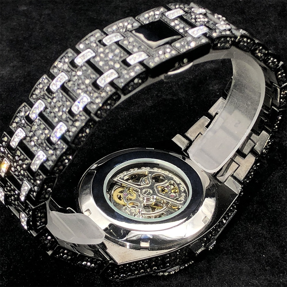 MISSFOX Automatic Men Watches Top Brand Luxury Ice Out Black Watch Hip Hop Full Diamond Mechanical Clock Relógio masculino 2021 enlarge