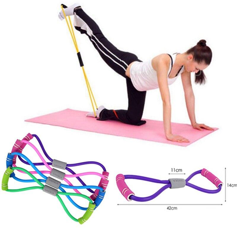 Cuerda de expansión con 8 palabras para entrenamiento, Fitness, Yoga, goma, cintas elásticas de goma para ejercicio deportivo