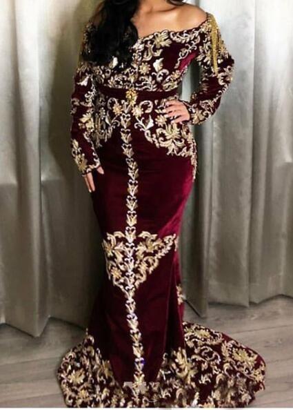 Burgundy Dubai Arabic Caftans Mermaid Evening Dresses Lace Beaded Velvet Prom Dresses Long Sleeves Formal Party Celebrity Gowns