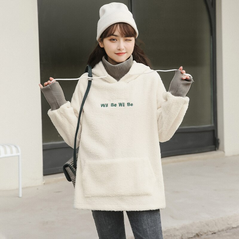 Chic Khaki Autumn and Winter 2020 New Thick Loose Lamb Wool Sweatshirt Women's Fleece Letter-Printin