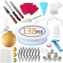 138 pièces gâteau décoration outils Kit glaçage conseils platine pâtisserie sacs coupleurs crème buse outils de cuisson ensemble pour Cupcakes biscuits
