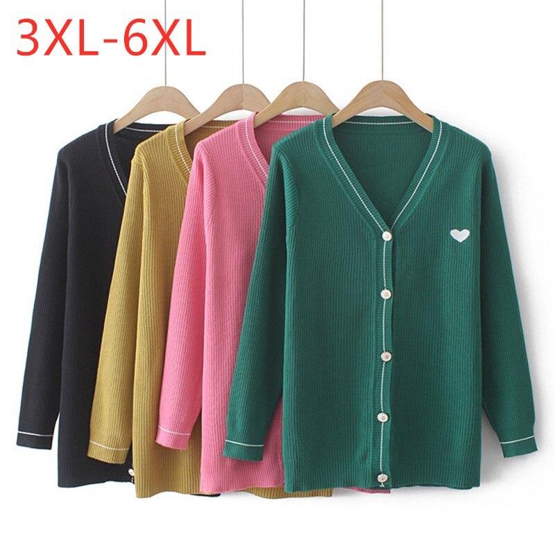 New Autumn Winter Plus Size Knit Tops For Women Large Long Sleeve Slim Elastic Green V-neck Cardigan Sweater 3XL 4XL 5XL 6XL