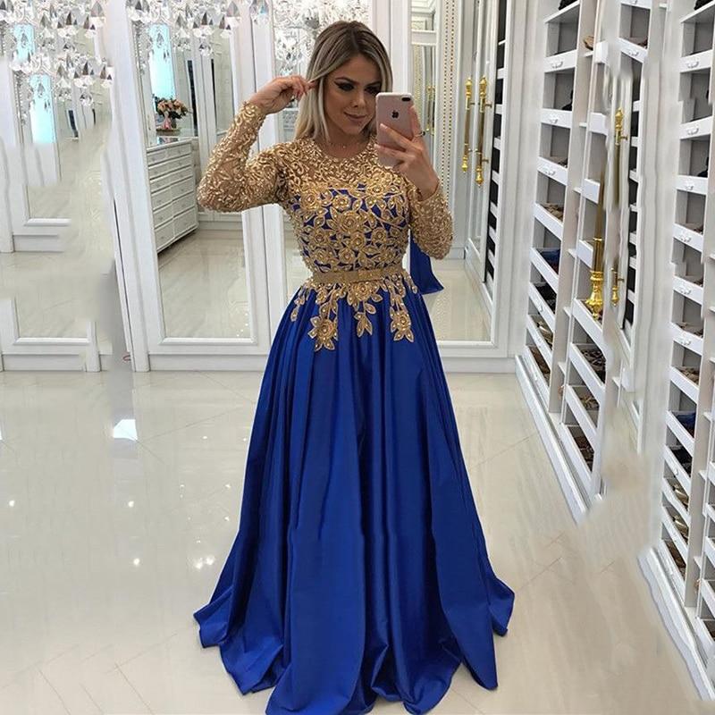 فستان سهرة أنيق من الدانتيل الذهبي 2021 مزين بأكمام طويلة للحفلات المسائية فستان حفلة موسيقية Vestido de Formatura Longo