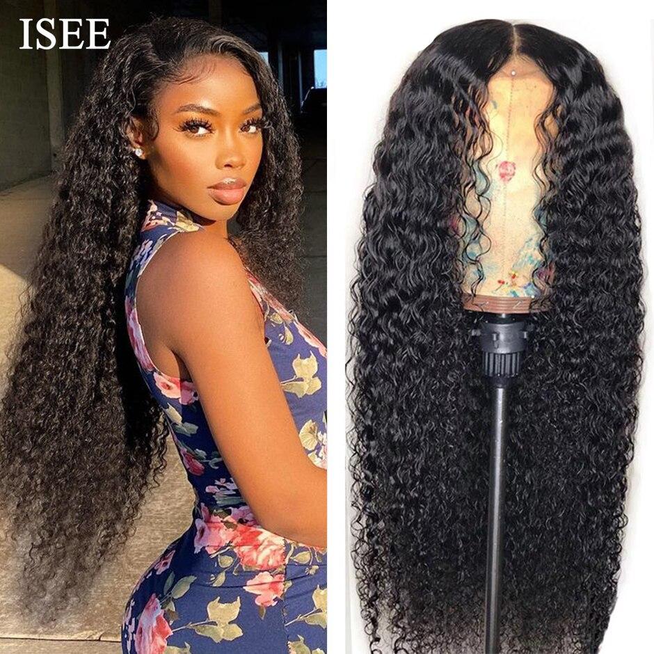 Mongolian Kinky Curly Wigs For Women Human Hair ISEE HAIR Curly Lace Front Wigs Curly Human Hair Wigs 13X6 HD Lace Frontal Wig