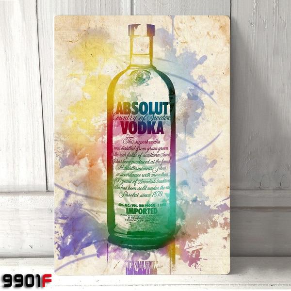 Absolut Vodka de Metal estaño signo de Metal garaje de casa Cueva...