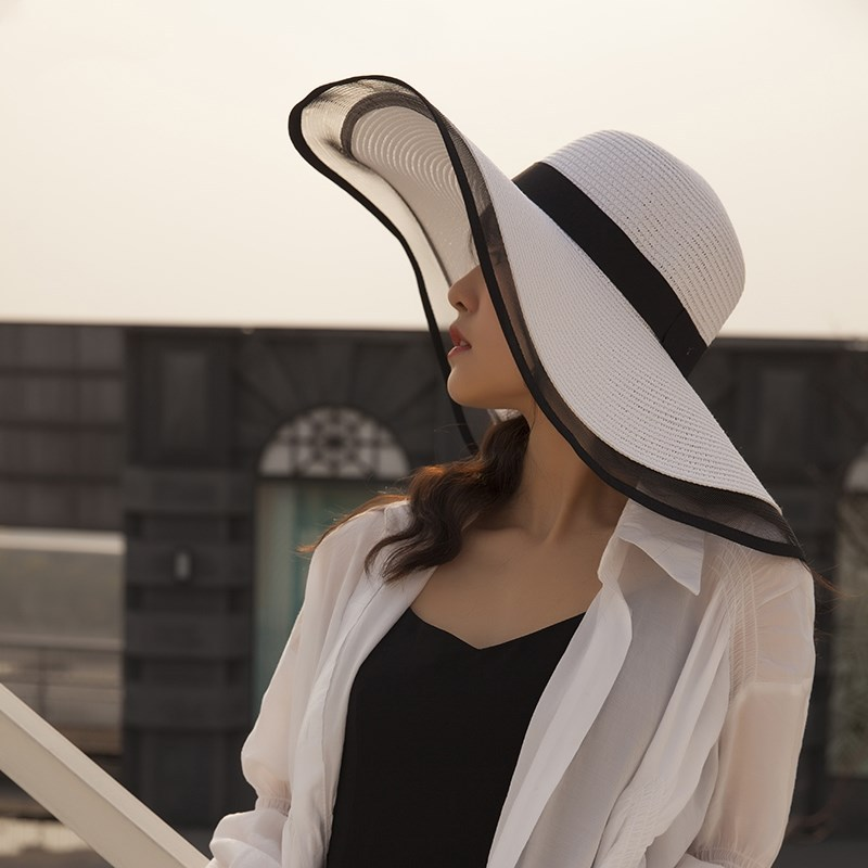 Sun Hat Summer anti-UV Lady Wide Brim Women Solid Plain Floppy Straw Hats for Female Mesh Beach