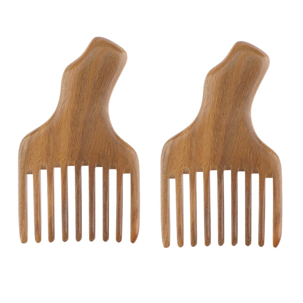 Paquetes de 2 unidades de madera Natural de sándalo verde, peine desenredante de 4,7 pulgadas, peine de elevación de madera para recoger el pelo, pelucas, peine de bolsillo para pelo Afro trenzado