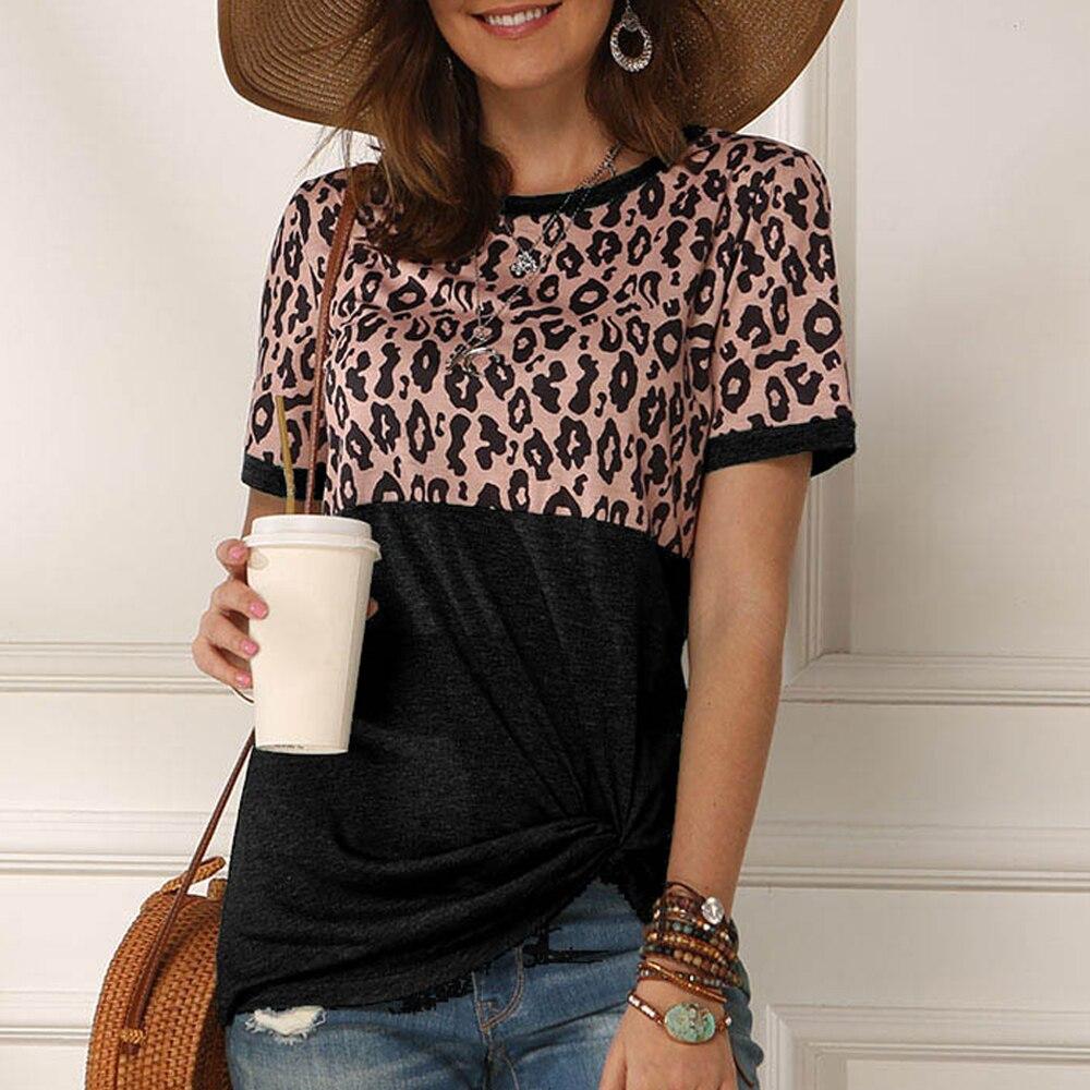 Модная женская футболка с принтом Lepoard, летняя футболка Harajuku, Женская свободная футболка с круглым вырезом, свободная повседневная футболка...