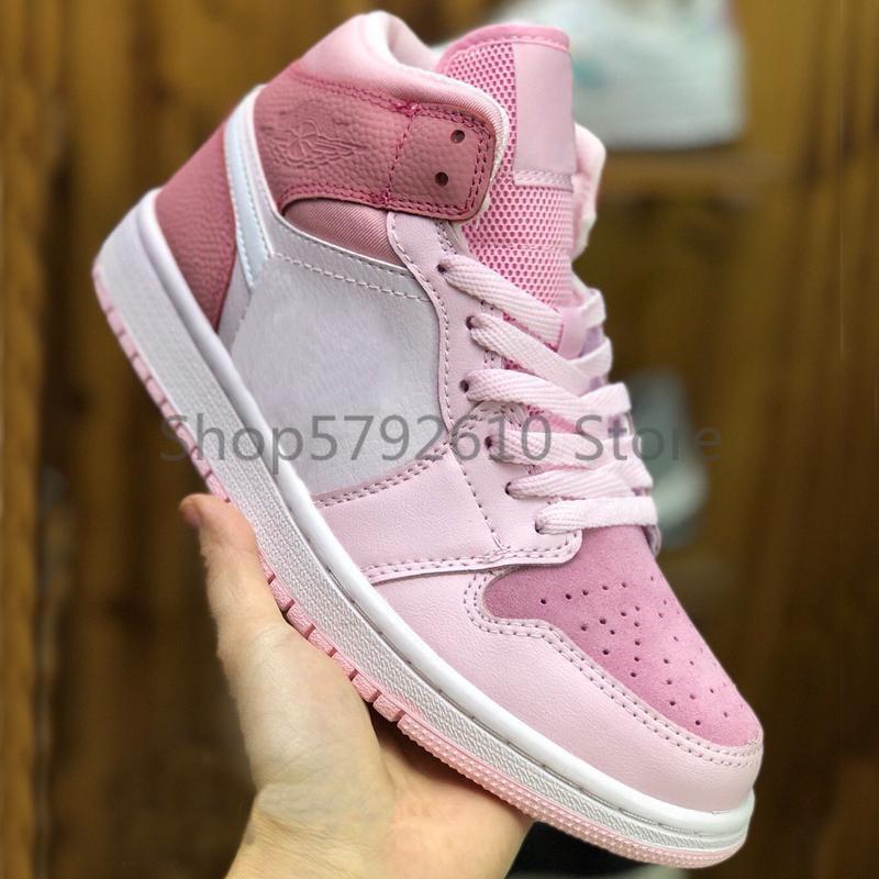 1 1s Mid Top Basketball Schuhe Rosa Digitalen Frauen Mädchen Leichtathletik Sneakers UNC Sport Schuhe Kirsche Rosa Casual Trainer chaussures