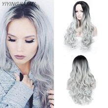 Gray Gradient  WIG Wavy Long Middle Part Costume Cosplay Party Synthetic Wigs for Women Afro Heat Re