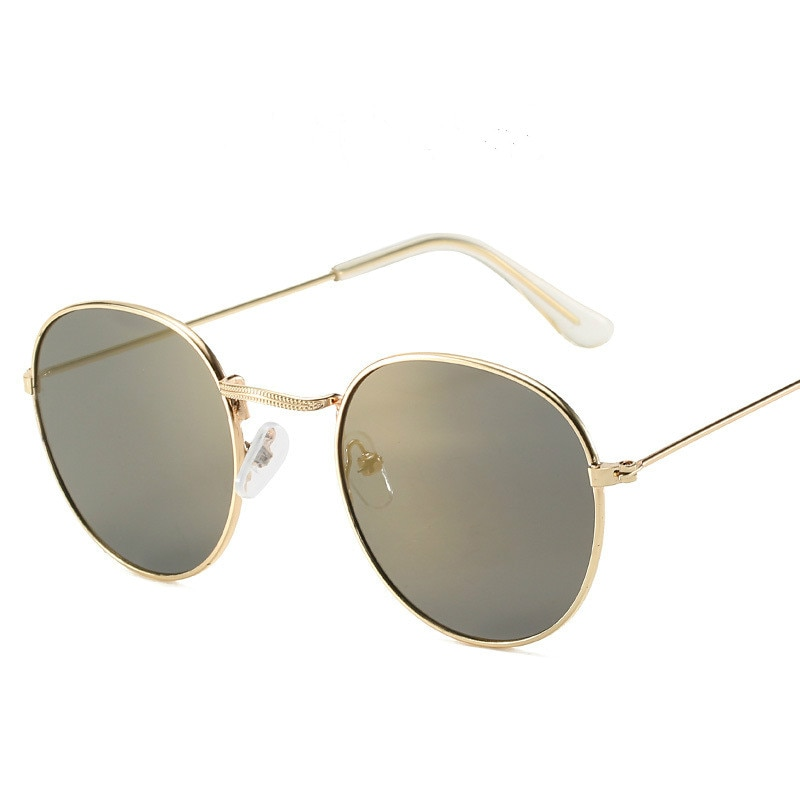 Ocean Lens Women Sunglasses Small Round All-match Fashion for Men and OLOEY Vacation Beach Metal Glasses Oculos
