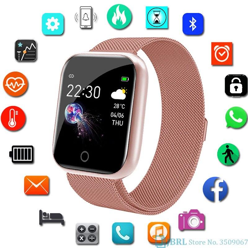Esporte inoxidável relógio inteligente mulher homem smartwatch masculino relógio inteligente para android ios música jogar controle de fitness relógio freqüência cardíaca