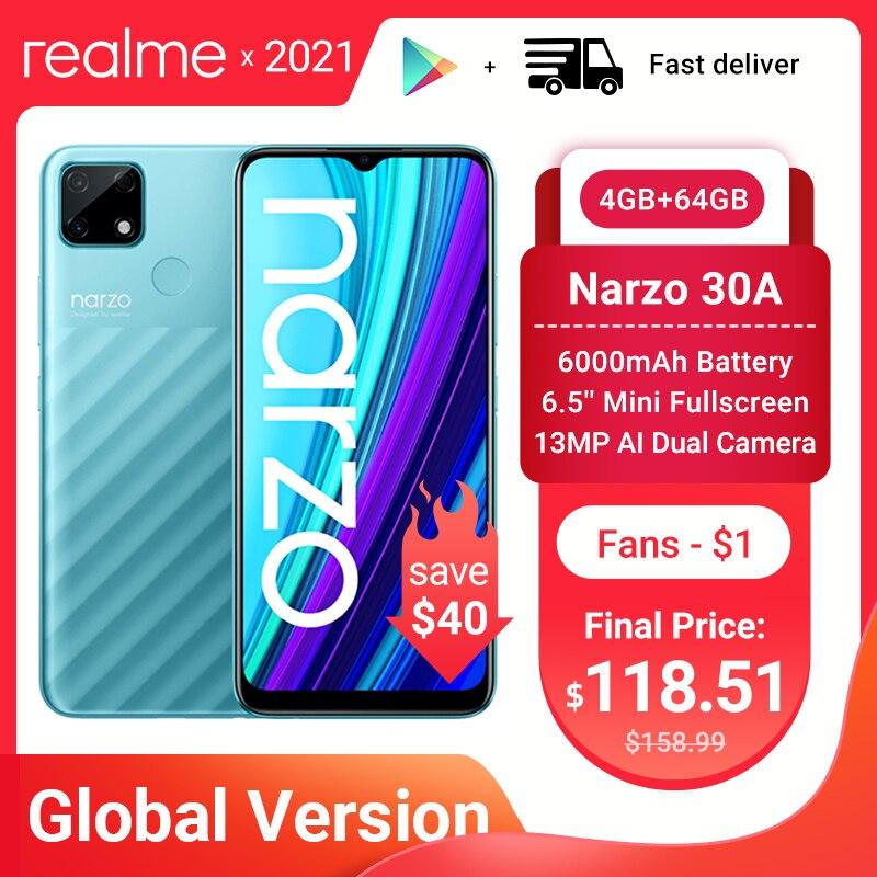 Новый realme Narzo 30A смартфон 4GB 64GB Helio G85 6,5 дюйм полноэкранный 13MP AI двойной Камера 6000 мА/ч, глобальная версия 18W быстрое зарядное устройство Зарядное у...