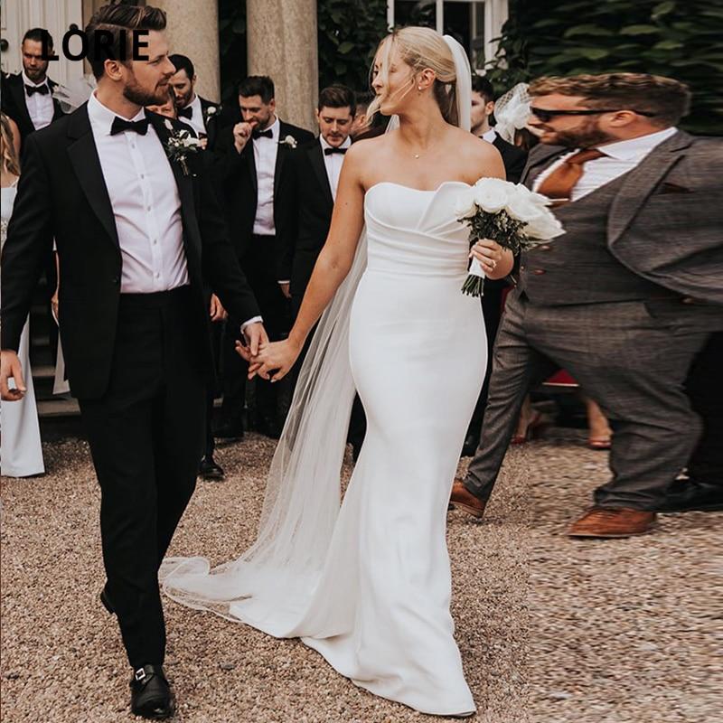 LORIE Beach Wedding Dresses Boho Sweetheart Stretchy Custom Made Simple Wedding Gown Mermaid Bridal Dress 2021 suknia slubna