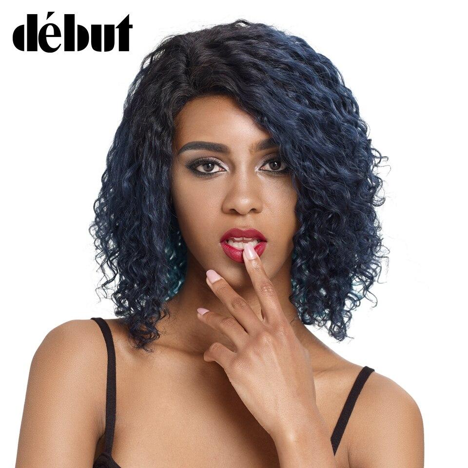 Pelucas de cabello humano de primer nivel, peluca de cabello humano rizado azul, pelucas de Bob corto para mujeres, pelucas rizadas húmedas y onduladas, peluca de encaje de moda de 99J