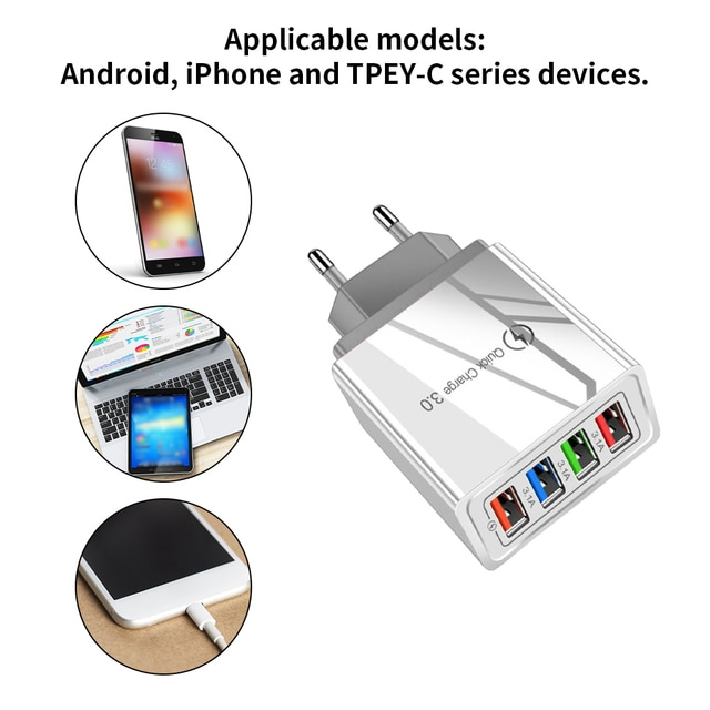 Quick Charge 3.0 For iPhone Charger Wall Fast Charging For Samsung S10 S9 S8 Plug Xiaomi Mi Huawei Mobile Phone Chargers Adapter 6