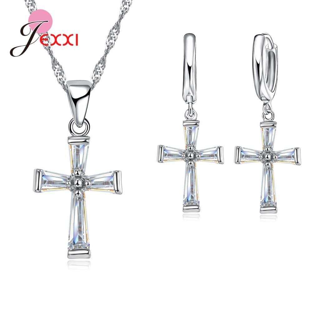 Moderno collar de plata de ley 925 con colgante de Cruz de Zirconia cúbica, conjuntos de joyería para aniversario y boda para mujer