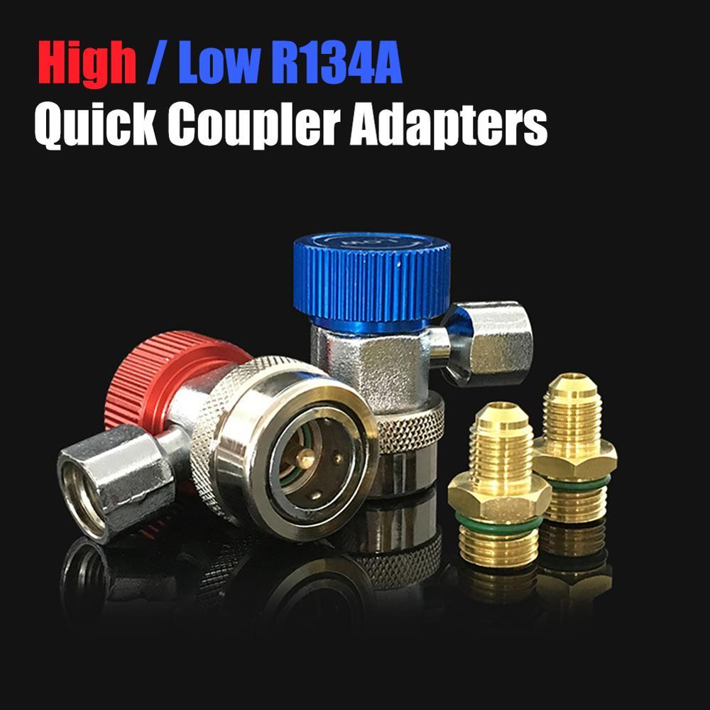 R134a adaptadores rápidos do conector do acoplador baixo alto adjuatable tipo calibre coletor ac conjunto automático para o adaptador de bronze do calibre do coletor de a/c