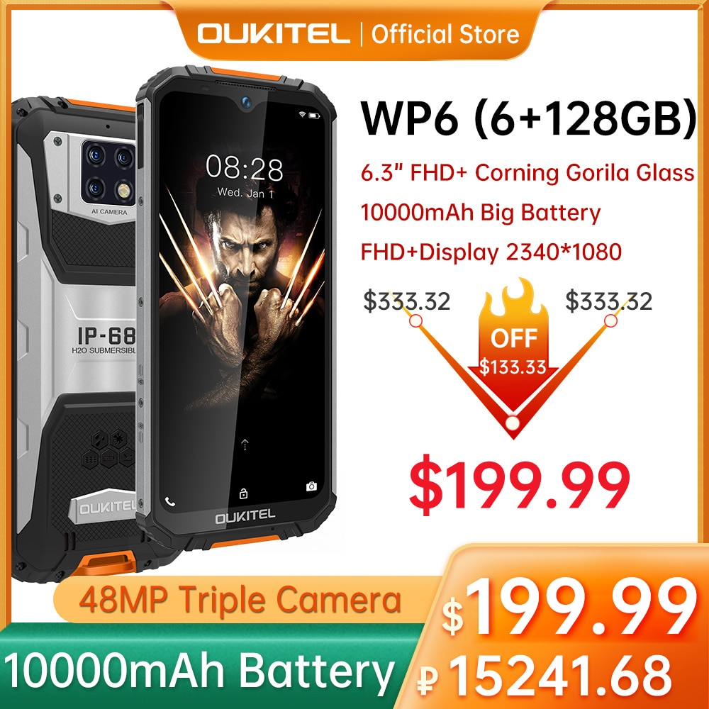 OUKITEL WP6 6GB 128GB 10000mAh الهاتف الذكي 6.3 ''FHD مقاوم للماء الهاتف المحمول ثماني النواة 48mp كاميرات ثلاثية جوّال المهامّ الوعرة