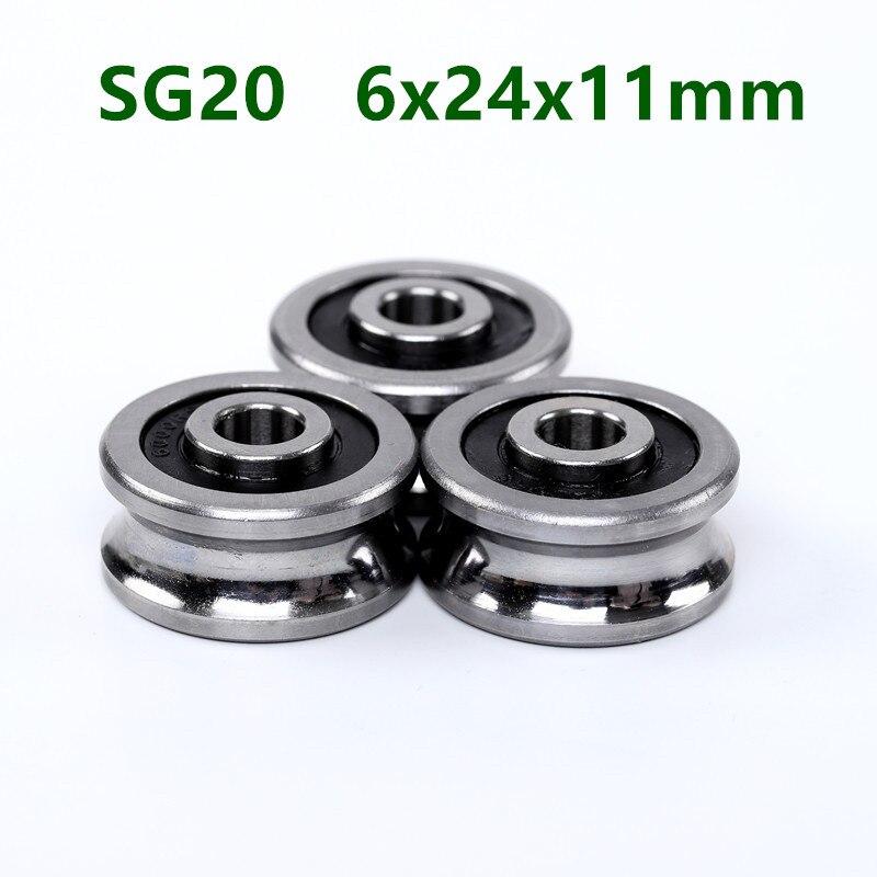 20 pces/50 pces sg20 6mm u rolamentos de esferas da polia do sulco 6x24x11mm rolamento da roda do rolo do guia da trilha (bolas dobro da fileira) ABEC-5