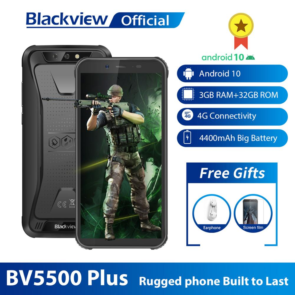 "Blackview 2020 BV5500 Plus Rugged Smartphone IP68 Waterproof 3GB+32GB Android 10.0 Cellphone 5.5"" Screen 4400mAh 4G Mobile Phone"