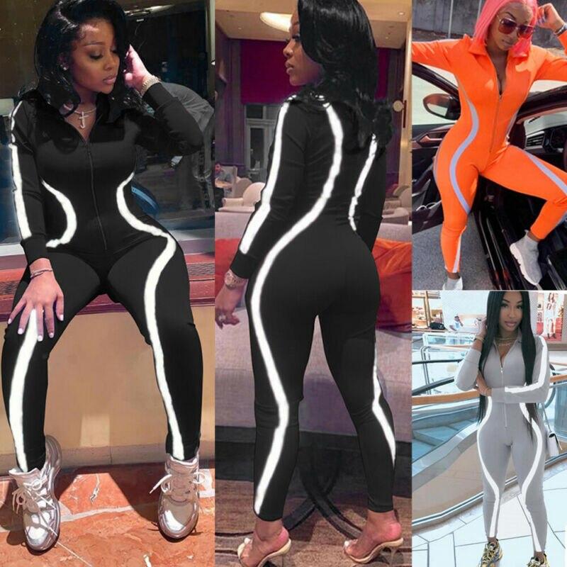 Las nuevas mujeres de la cremallera tira reflectante mono Bodycon mono Clubwear manga larga otoño Pantalones fiesta