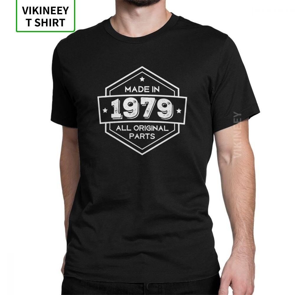 Camiseta hecha en 1979, todas las piezas originales, regalos, cumpleaños, playera aniversario, camisetas de manga corta para hombres, camisetas 100% de algodón, recién llegadas