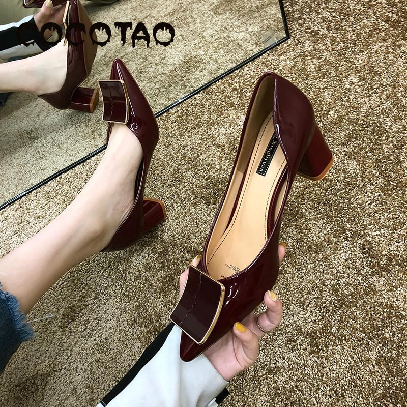 Женская обувь на толстом каблуке, с острым носком, на высоком квадратном каблуке, с пряжкой, на лето, 2019