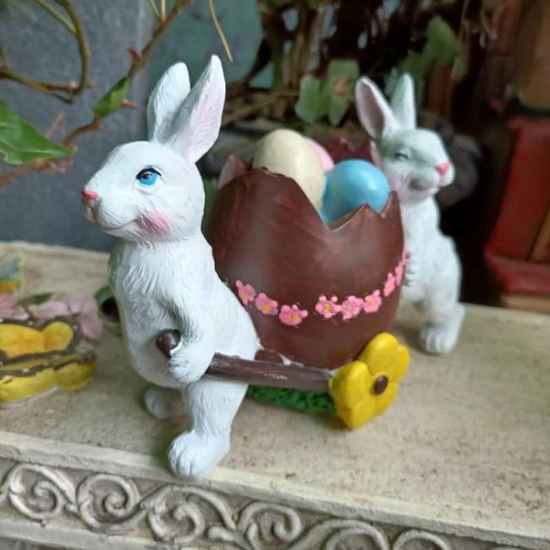 عربة أرنب مزدوجة لطيفة رعوية إبداعية ، وعاء زهور ، زخرفة خارجية ، شرفة ، فناء ، حكاية خرافية ، ديكور حديقة