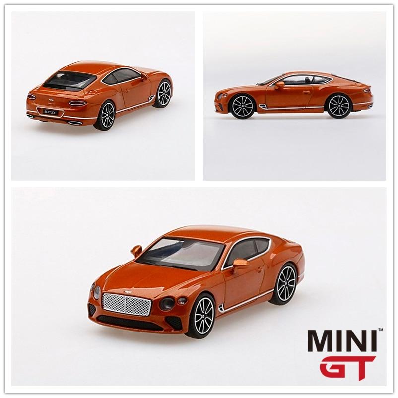MINI GT 164 Bentley Continental GT Orange Flame RHD, modelo de coche fundido a presión