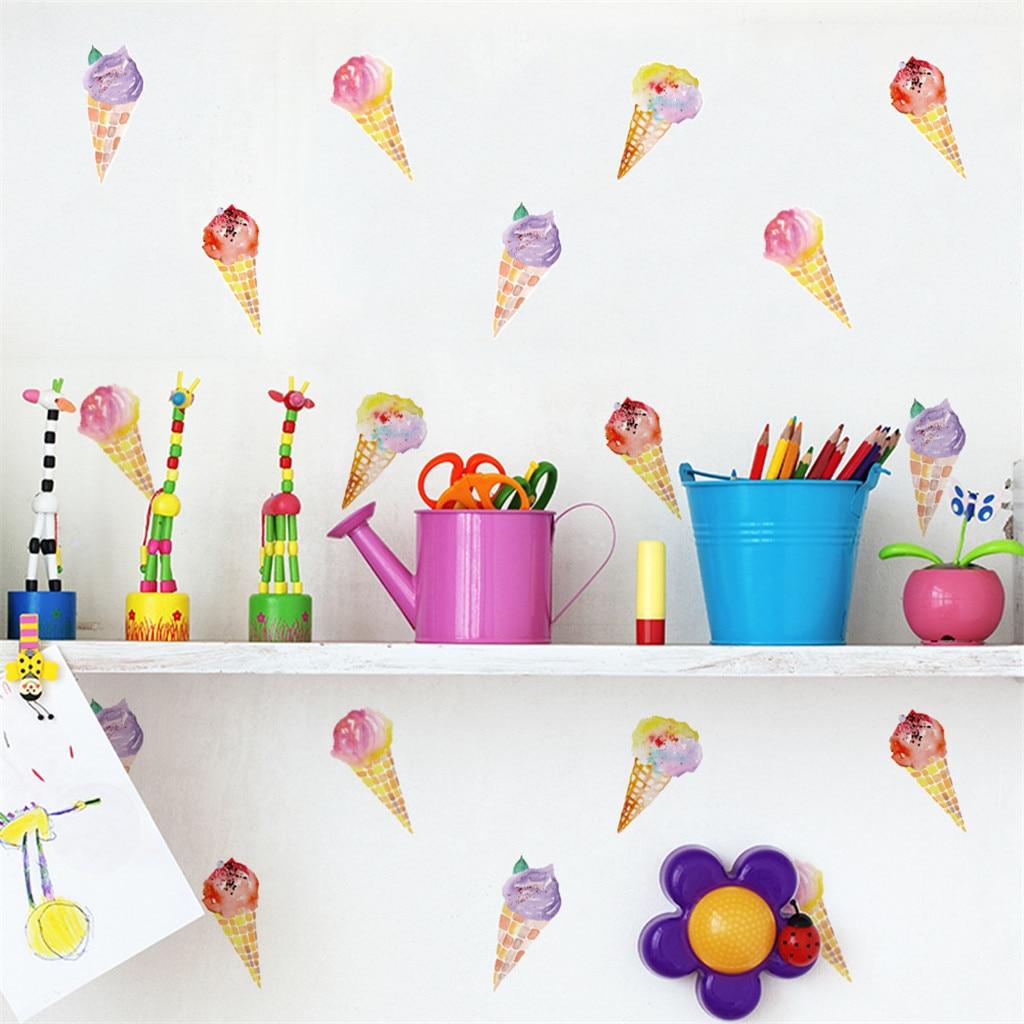 6 uds. Colorido helado DIY empapelado verano helado chico Sala sala de estar Adhesivo de pared de vinilo pegatina gabinete puerta azulejo Decoración