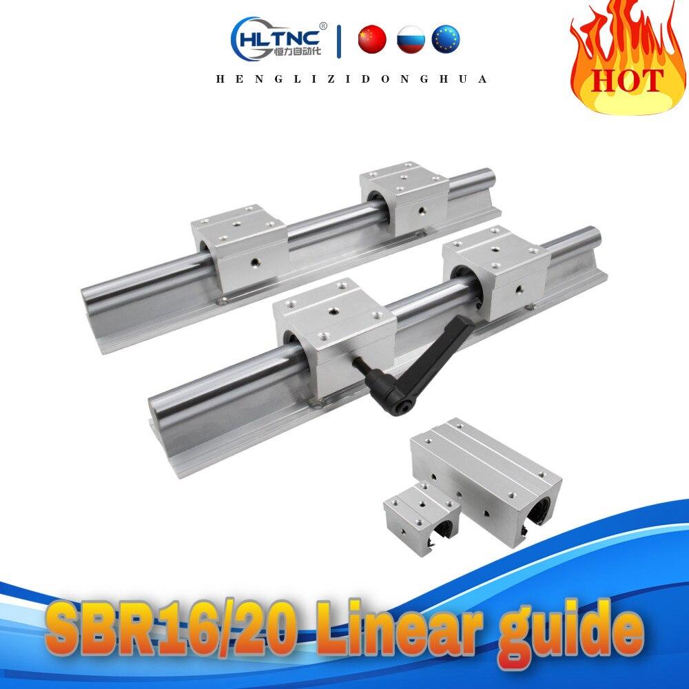 SBR الخطي دليل دعم السكك الحديدية 2 قطعة SBR16 / SBR20 + 4 قطعة خطية تحمل كتل SBR16/20UU / SBR16/20LUU ل CNC أجزاء