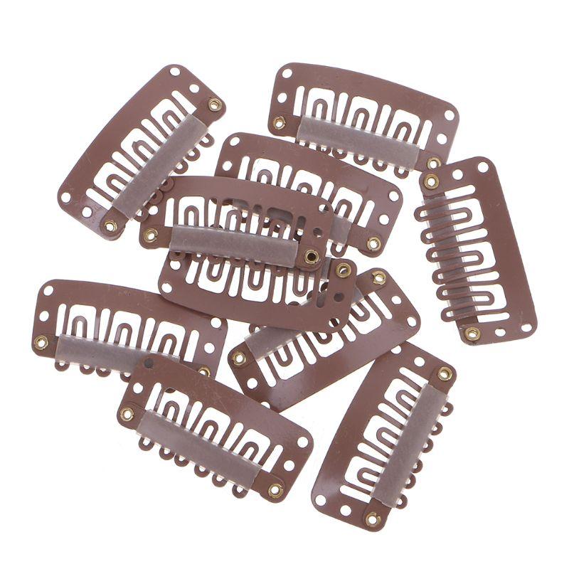 Pinza de pelo marrón de 10 Uds 32mm medio U para extensiones de cabello de peluca