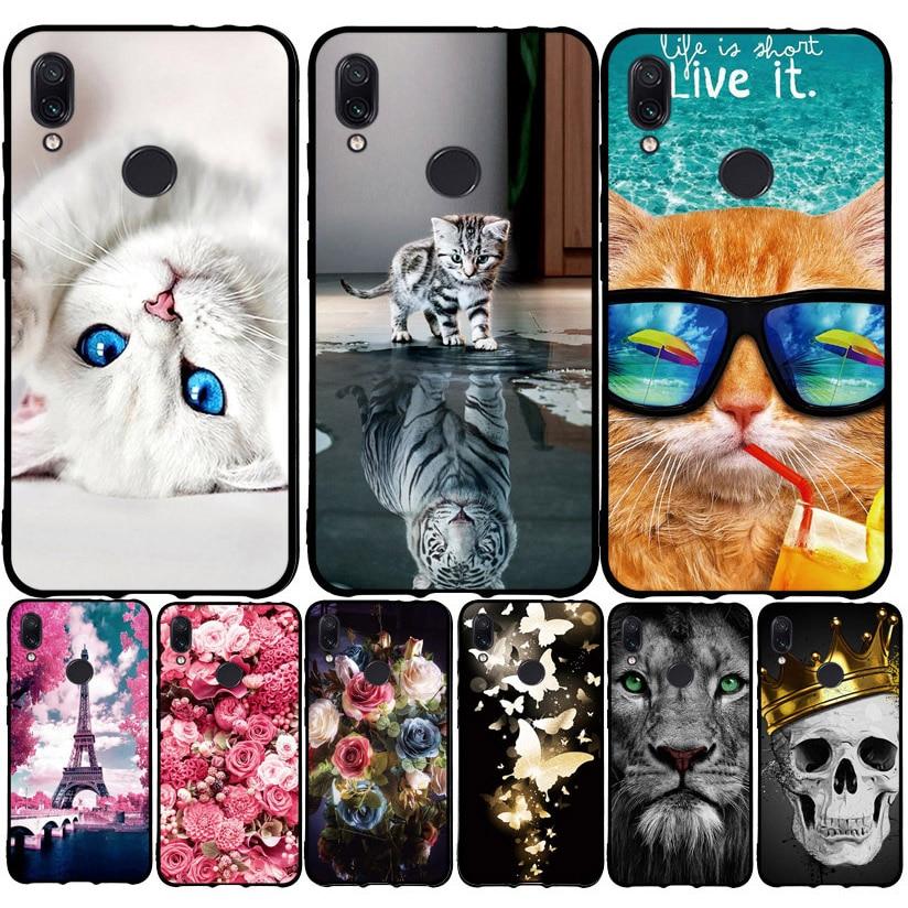 "For Xiaomi Redmi Note 7 Case Cover Soft Silicone Cute Cat Painted Back Cover Redmi 7 Note 7 Pro Case Cover Xiomi Note7 Case 6.3"""