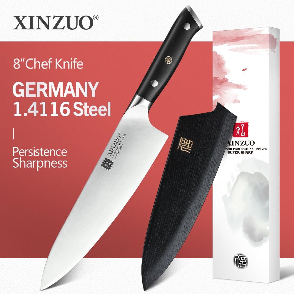 XINZUO-سكين مطبخ ألمانية من الفولاذ المقاوم للصدأ 8.5 بوصة ، احترافي ، مقبض خشبي ، فولاذ عالي الكربون ، 1.4116