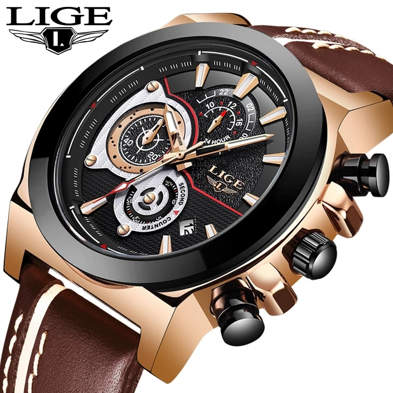 LIGE-ساعات رجالية ، ماركة فاخرة ، مقاومة للماء ، ساعة يد رياضية ، كرونوغراف ، كوارتز جلد عسكري ، للرجال